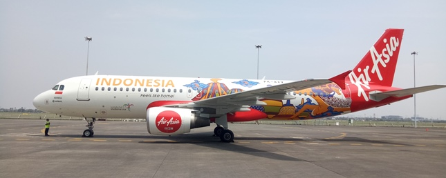 AirAsia Plane Show Wonderful Indonesia Logo (Photo: Chodijah Febriyani / Industry.co.id)