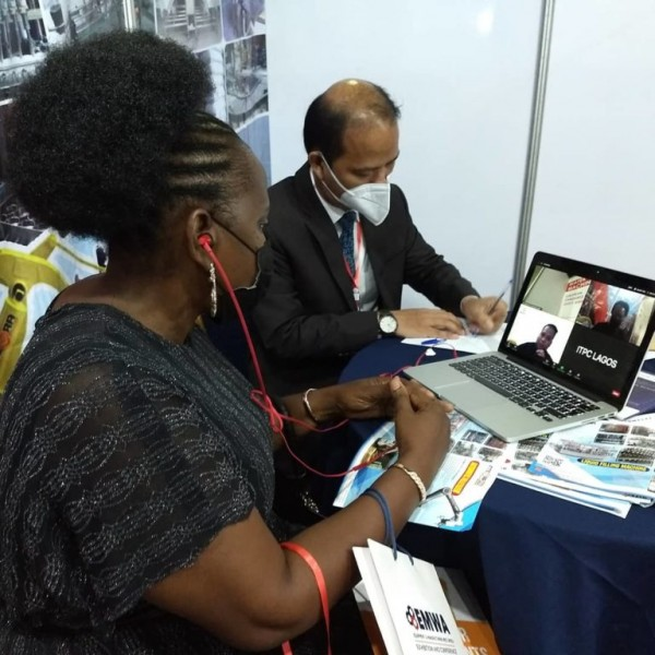 The ITPC Lagos facilitates online meeting between Indonesian business entities and prospective buyers at EMWA 2021 at Lagos, Nigeria. Photo by: Twitter account of the ITPC Lagos @itpclgs