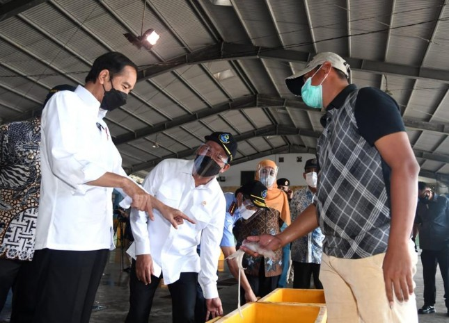 President Jokowi visits Brondong Fish Trade and Distribution Center, in Lamongan, East Java Province, on Thursday (6/5). (Photo by: Presidential Secretariat/Lukas)