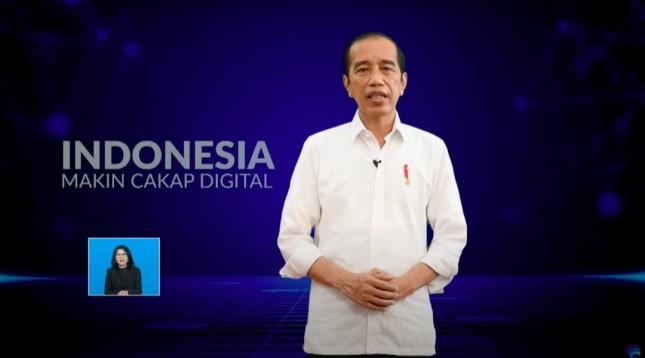 President Jokowi delivers remarks on the virtual launching of the National Digital Literacy Program, Thursday (20/5). (Source: Screenshot from Ministry of Communications and Informatics YouTube TV)