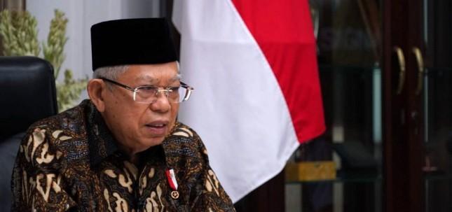 Vice President Ma'ruf Amin opens 2021 Indonesia Industrial Moslem Exhibition virtually on Thursday (3/6). (Photo: Vice Presidential Secretariat)
