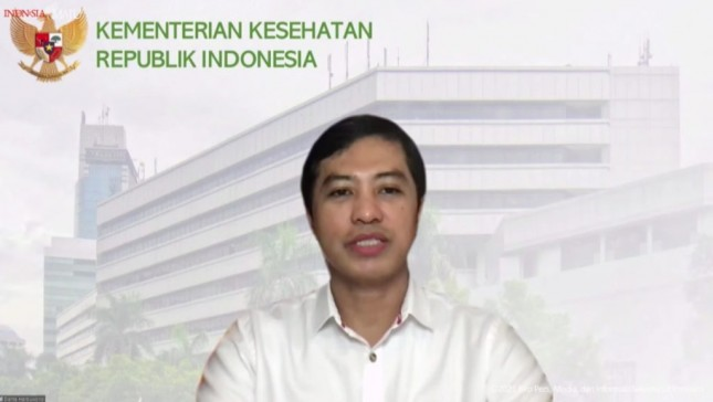 Deputy Minister of Health Dante Saksono Harbuwono delivers press statement on the arrival of 1.2 million doses of Pfizer vaccine, Thursday (2/9). (Source: Presidential Secretariat YouTube Channel)