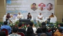 enderal Penyelenggaraan Pos dan Informatika Ahmad M. Ramli pada Forum Merdeka Barat 9 Registrasi Data Kartu Telepon:Aman dan Terjamin di Ruang Serba Guna Kementerian Kominfo, Jakarta, Rabu (14/3/2018).