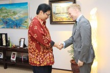 Minister of Industry of Airlangga Hartarto after receiving the visit of European Union Ambassador to Indonesia Vincent Guerend