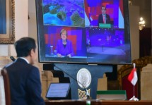 President Jokowi and Chancellor Angela Merkel officially open the Hannover Messe 2021 through video conference, Monday (12/04). Photo: BPMI/Muchlir Jr