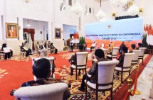 The launching of National Cash Assistance Program of 2021, at the State Palace, Jakarta. (Photo by: Cabinet Secretariat PR)