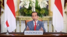 Caption: President Jokowi attends Climate Change Summit virtually from the Bogor Presidential Palace, West Java province, Thursday (22/4) (Photo: BPMI/ Presidential Palace)