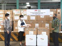 Launching of Indonesian Government's assistance delivery too India for COVID-19 Pandemic Management at Soekarno Hatta Airport in Tangerang city, Banten province. (Photo: Bureau of Press, Media, and Information of Presidential Secretariat/Rusman)