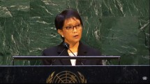 Indonesian Minister of Foreign Affairs Retno LP Marsudi delivers remarks at the United Nations General Assembly's 67th Plenary Meeting, Thursday (20/05) at the UN Headquarters, the United States. Photo by: PR of Ministry of Foreign Affairs