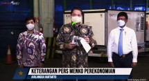 Coordinating Minister for Economic Affairs Airlangga Hartarto delivers a press statement on the arrival of vaccine at Soekarno-Hatta airport, Tangerang, Tuesday (25/5). (Photo: Screenshot of Presidential Secretariat YouTube account)