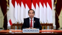 President Jokowi delivers remarks through video conference during the Partnering for Green Growth and the Global Goals 2030 (P4G) Summit held in South Korea, Sunday (30/05). Photo by: BPMI of Presidential Secretariat.