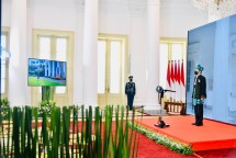 President Jokowi leads the commemoration ceremony of the Birth of Pancasila, Tuesday (1/6), from the Bogor Presidential Palace, West Java. (Photo by: BPMI Setpres/Laily Rachev)