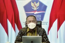 Head of the COVID-19 Task Force Ganip Warsito delivers a statement after a virtual Limited Cabinet Meeting on Tuesday (06/07). Photo by: PR of Cabinet Secretariat/Agung