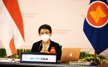 Minister of Foreign Affairs Retno L. P. Marsudi led the Special ASEAN-Russia Foreign Ministers' Meeting online, Tuesday (06/07/2021). (Photo: PR of Ministry of Foreign Affairs)