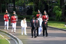 President Jokowi and Vice President Ma'ruf Amin accompanied by Minister of Home Affairs Tito Karnavian, Jambi Governor- and Vice Governor-elect in Jakarta, Wednesday (07/07/2021).