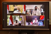 A virtual press conference after the limited meeting on COVID-19 handling, Wednesday (12/7). (Photo by: PR/Agung)
