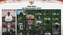 An online mass prayer during the eve of Eid al-Adha (Takbir Akbar), Monday (19/07). Photo by: YouTube channel of Presidential Secretariat.