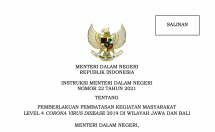 Ministerial Instruction Number 22 of 2021 on Level 4 Community Activity Restrictions in the islands of Java and Bali
