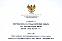 issued Decisionof Minister of State Apparatus Empowerment and Bureaucratic Reforms on Passing Score of Basic Competency Test (SKD) for Civil Servant Candidates of the 2021 Fiscal Year