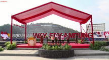 Inauguration of Way Sekampung Dam in Pringsewu regency, Lampung province, Thursday (02/09). (Source: Screenshot from the YouTube channel of Presidential Secretariat)
