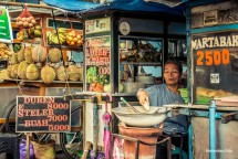 Illustration of a small shop owner in the capital city of North Sumatra, Medan.