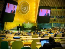 President Joko Widodo delivers his remarks through video conference at the 76th UNGA General Debate Session on Thursday (09/23) Western Indonesia Time. Photo by: PR of Ministry of Foreign Affairs.
