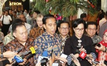 BI Governor Agus Martowardojo with President Jokowi and Finance Minister Sri Mulyani (Foto Rizki Meirino)