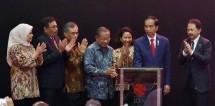 Presiden Jokowi saat menghadiri pencatatan perdana kontrak investasi kolektif di Gedung BEI Kamis (31/8).